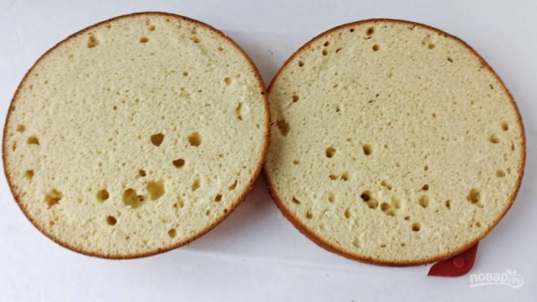 13.Остывший белый бисквит разрезаю на 2 одинаковых коржа.