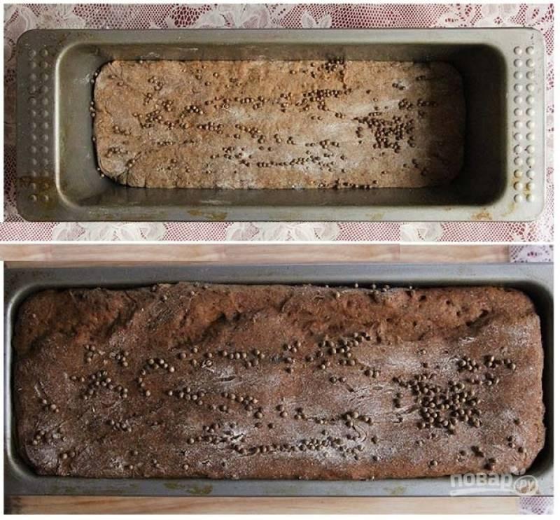 4. Форму для выпечки смажьте растительным маслом, выложите тесто. Сформируйте аккуратный хлебушек, по желанию присыпьте дополнительно кориандром и оставьте в теплом месте подходить. Этот процесс займет около 3-4 часов, так как тесто должно увеличиться в два раза.