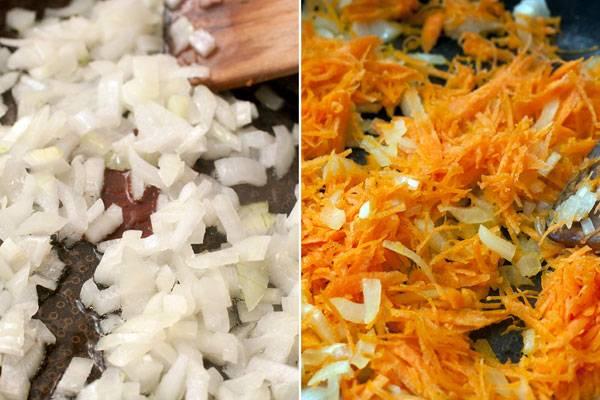Пока варится бульон делаем зажарку. Разогреваем сковородку, заливаем в нее растительное масло и обжариваем до прозрачности мелко нарезанный лук. Затем добавляем морковь, натертую на мелкой терке и обжариваем все до мягкости.