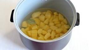 Порезать картофель на куски среднего размера и залить водой на 1,5-2 сантиметра выше уровня картофеля. В воду положить очищенный зубок чеснока и лавровый лист. Добавить соль.