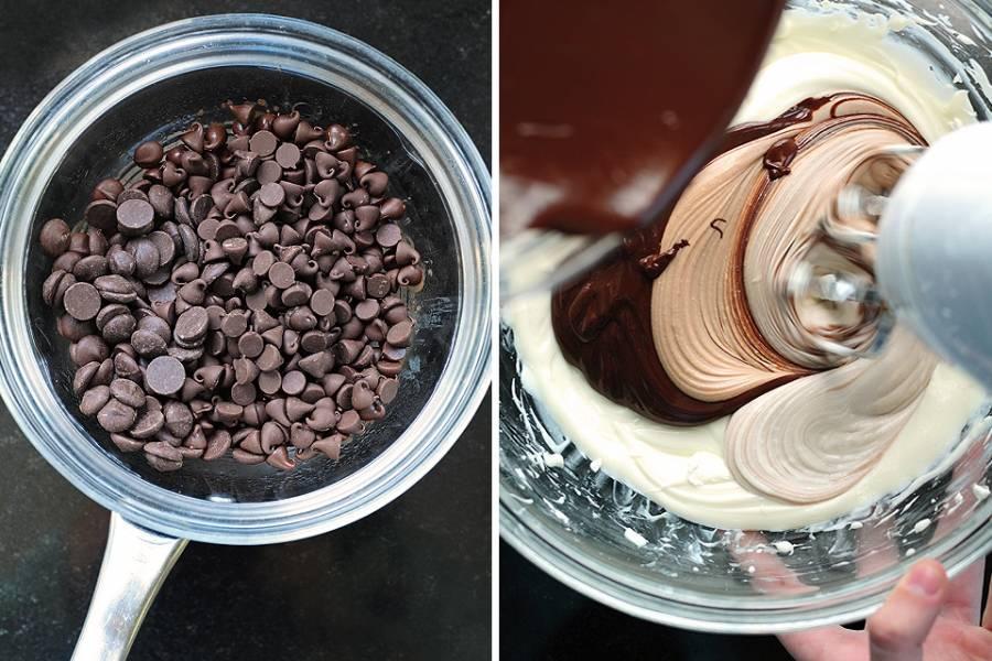 4. А теперь главный ингредиент - шоколад. Его необходимо отправить на водяную баню и растопить. Затем дать немного остыть и аккуратно ввести в сливочный сыр. Еще раз тщательно взбить массу.