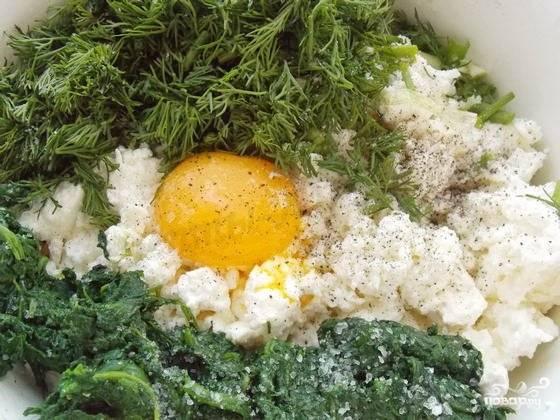 4.В миску всыпаем творог, добавляем рубленый шпинат, укроп, 1 яйцо, солим и перчим.