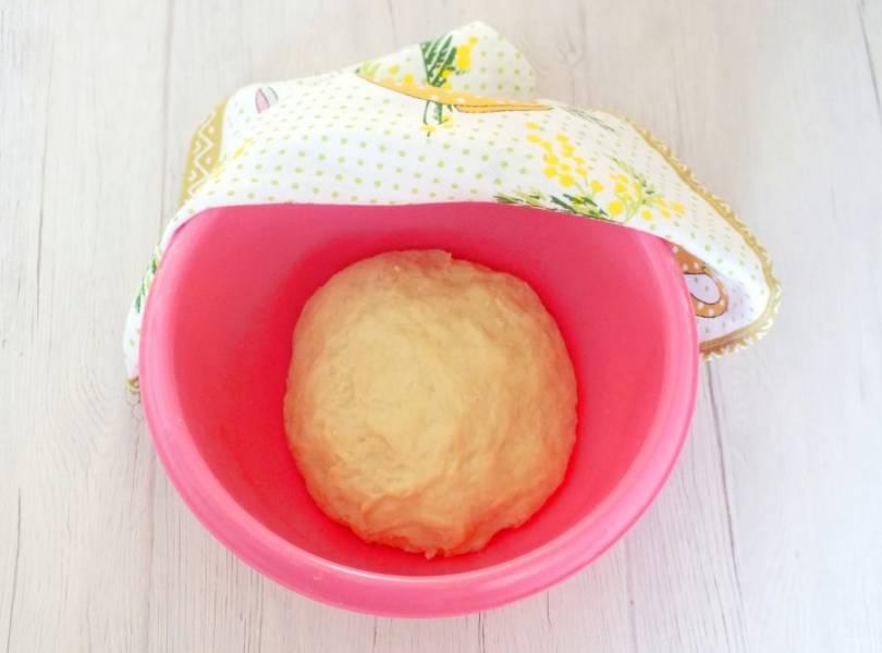 Замесите мягкое и податливое тесто. Оно не должно прилипать к рукам. Округлите. Положите в чашу, накройте полотенцем и оставьте при комнатной температуре на 40 минут.