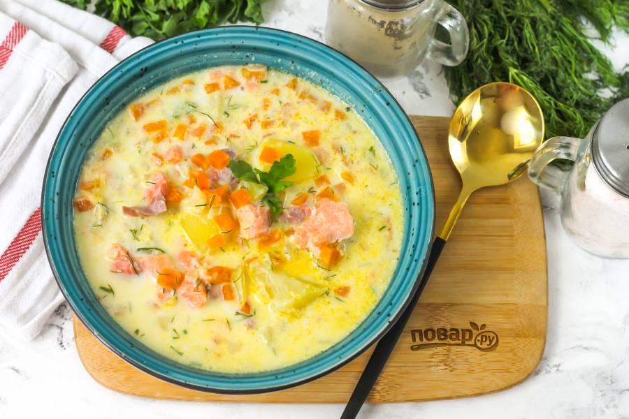 Суп из семги с молоком