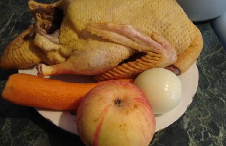 Подготовьте необходимые ингредиенты. Утку промываем и нарезаем порционными кусочками. Морковь и лук моем и очищаем, затем нарезаем кружочками и полукольцами соответственно. Яблоки нарезаем дольками.