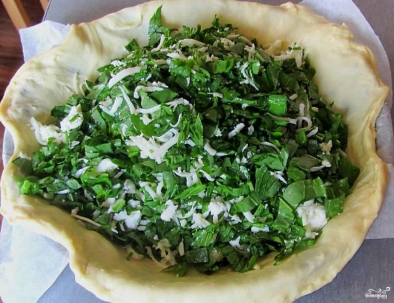 Тесто готовое обомните и разделите на 2 части. Из одной сделайте пласт и выложите в форму для запекания, смазанную маслом растительным. Сделайте высокие бортики. Выложите начинку. Сулугуни не обязательно добавлять, но мне нравится его вкус, он добавляет нужную соленость моцарелле. Сулугуни можете натереть на терке.