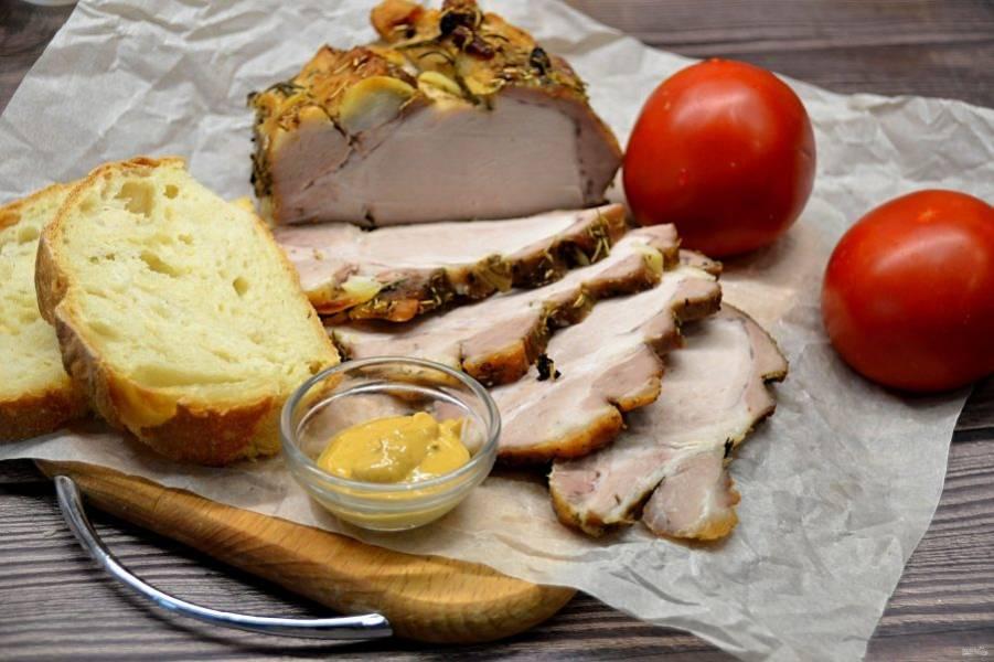В нашей семье любят именно этот вариант употребления, в холодном виде, с горчицей, с овощами, на бутерброды. Это гораздо вкуснее и лучше любой колбасы, отлично подойдет для холодной нарезки на праздничный стол.
