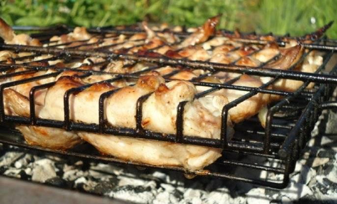 Закладывать курицу в этот маринад нужно не более, чем на три часа. Это исключит возможность того, что мясо станет жёстким. Настаивать мясо в маринаде нужно при комнатной температуре. При жарке на углях такой шашлык покроется прекрасной корочкой.