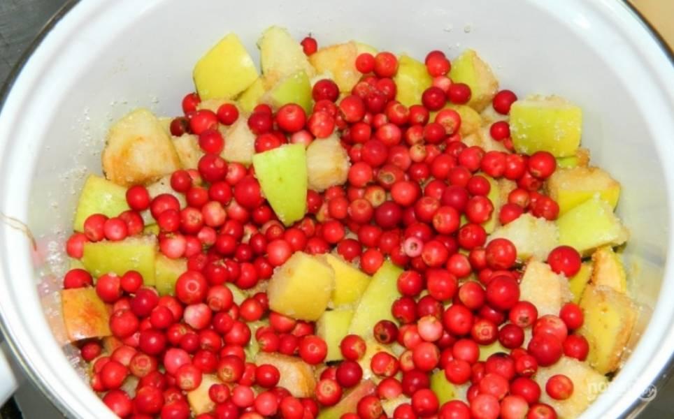 4.Яблоки мою, половину откладываю, они пригодятся позже, а половину разрезаю, вычищаю семена и нарезаю фрукты небольшими кусочками. Перекладываю яблоки в кастрюлю, добавляю к ним 150 грамм брусники и оставшийся сахар, прогреваю на огне.