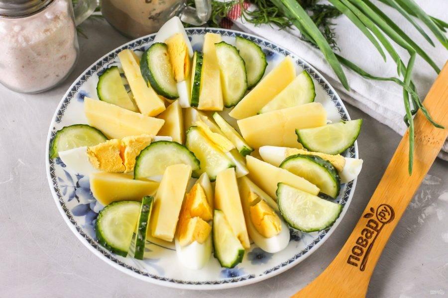 Промойте свежий огурец в воде, срежьте хвостики с овоща и нарежьте его половину кружочками или брусочками. Выложите на тарелку.