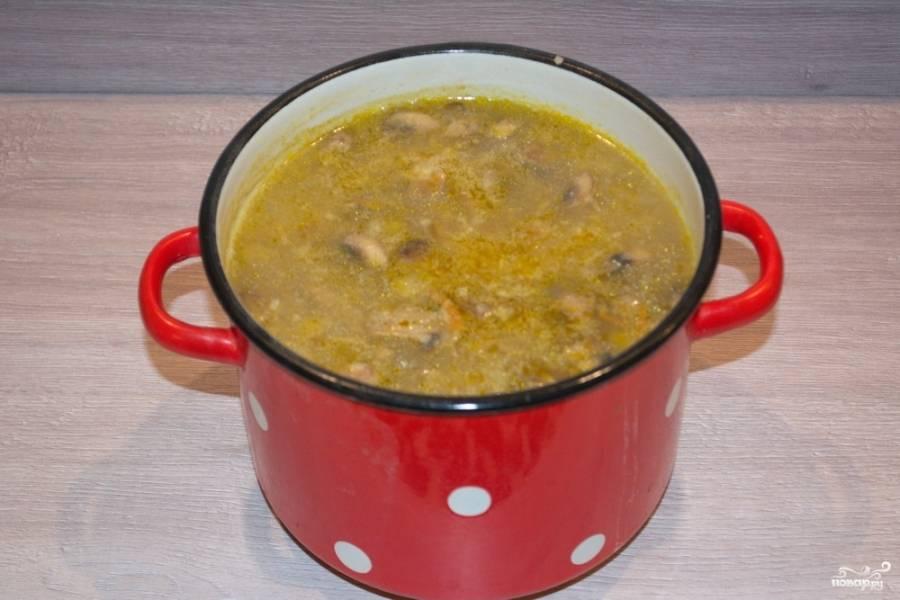 8. В кипящий бульон добавьте картофель. Варите 15 минут. Теперь добавьте зажарку. Варите все до готовности блюда.