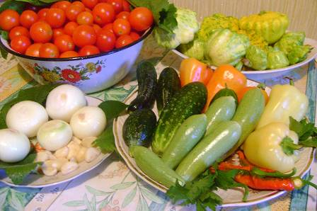 Все овощи, кроме томатов и чеснока, тщательно промойте и порежьте крупными кусочками.