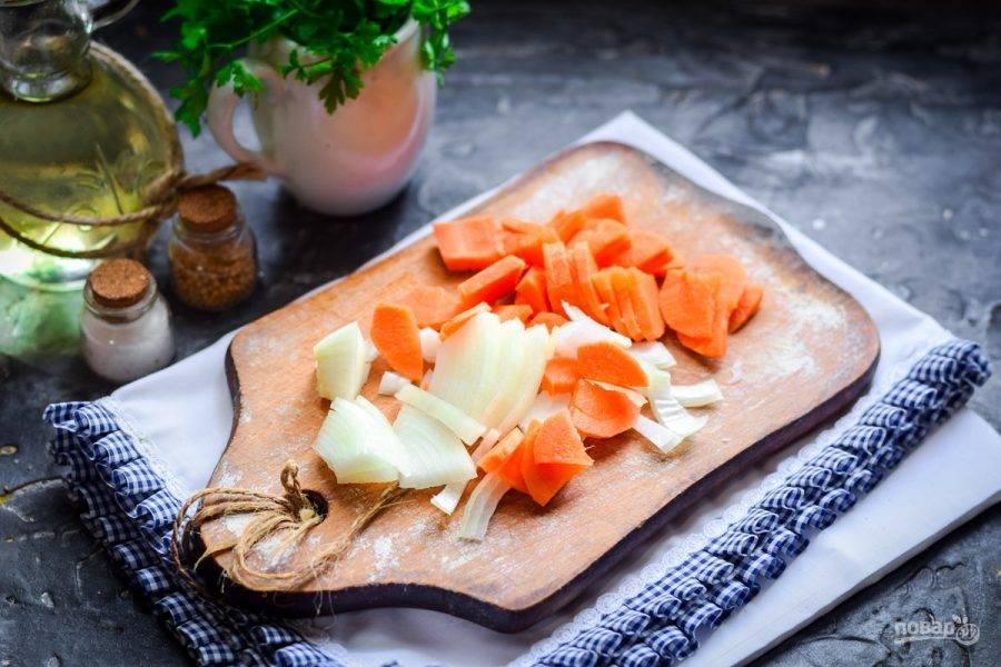 Очистите морковь и лук, овощи сполосните и просушите. Нарежьте морковь брусочками, лук нарежьте полукольцами.