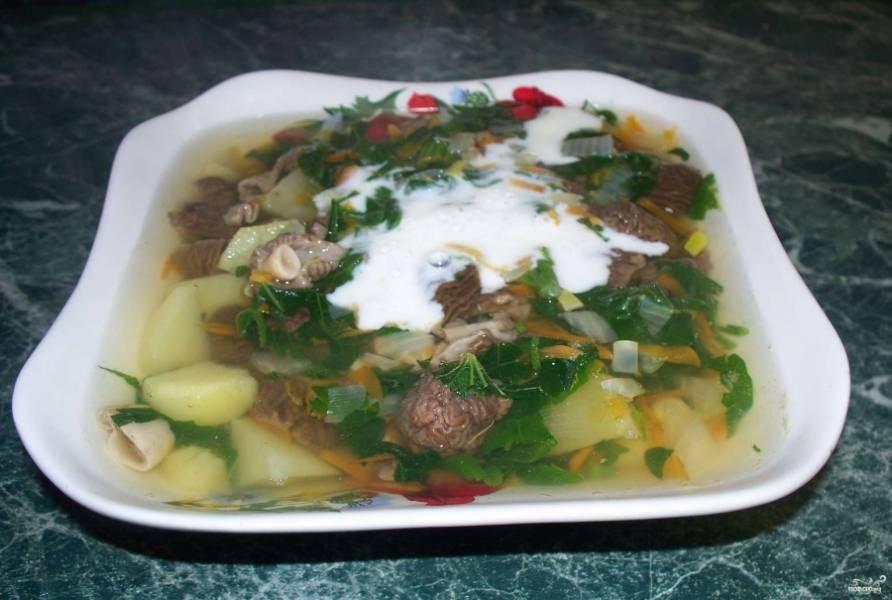 Варите суп в течение 20 минут. Украсьте его в конце зеленью и сметаной (лучше всего делать это, когда суп уже разлит по тарелкам). Приятного аппетита!
