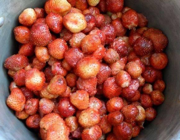 2. Следующий этап - это очистить клубнику от хвостиков. Если ягода некрупная, то на это потребуется какое-то время. Одновременно с этим процессом нужно перебрать ягоду, чтобы в варенье не попала гнилая или порченная.