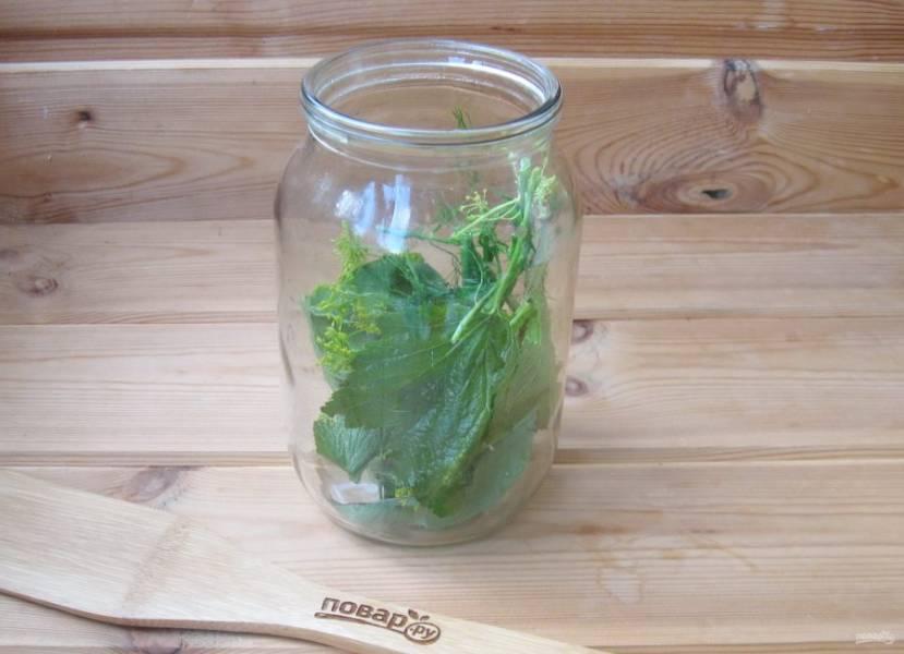 Добавьте листья вишни, смородины и укроп.