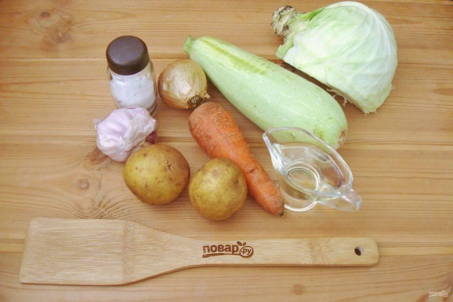 Подготовьте ингредиенты для приготовления рагу.