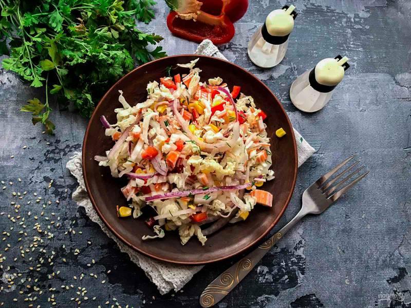 Крабовый салат с маслом