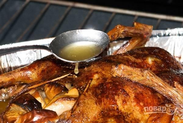 6. Отправьте форму с уткой в разогретую до 180 градусов духовку, запекайте 2.5-4 часа, в зависимости от размера птицы. В процессе обязательно доставайте утку и поливайте жирком.
