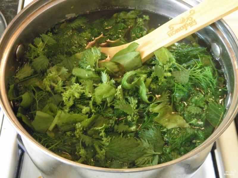 Когда овощи будут готовы, откорректируйте на соль бульон, добавьте всю зелень и проварите еще 3-4 минуты суп. Снимите щи с огня. Дайте настояться. Подавайте суп с перцем молотым (или свежим) и сметаной. Приятного аппетита!