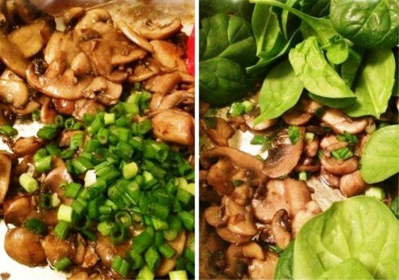 Разогрейте на сковороде смесь масел и обжарьте грибы и чеснок. Когда грибы станут золотистого цвета, добавьте зеленый лук, листья шпината и перемешайте. Протушите пару минут, посолите, добавьте крупу и дайте ей прогреться. Сразу можно подавать на стол.