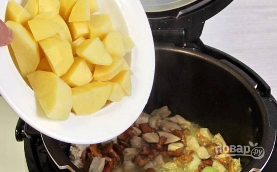 Теперь настала очередь картофеля. Его следует очистить от кожуры, вымыть и нарезать кубиками или дольками довольно крупно. Выложите картошку к остальным ингредиентам.