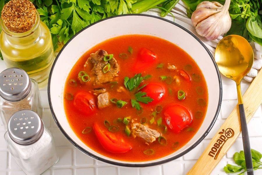 Разлейте горячий суп с говядиной в тарелки. Промойте перья зеленого лука, измельчите и присыпьте ими приготовленное блюдо. Подайте к столу.