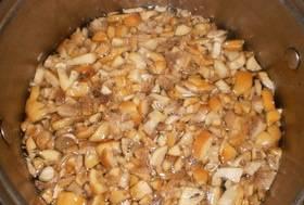 Вскипятите воду, опустите в нее грибы и отварите 3-4 минуты, если это шампиньоны, лисички или благородные грибы, как, например, белые. Остальные грибы рекомендуется варить минут 40 или использовать консервированные. Извлекаем грибы и слегка их отжимаем.