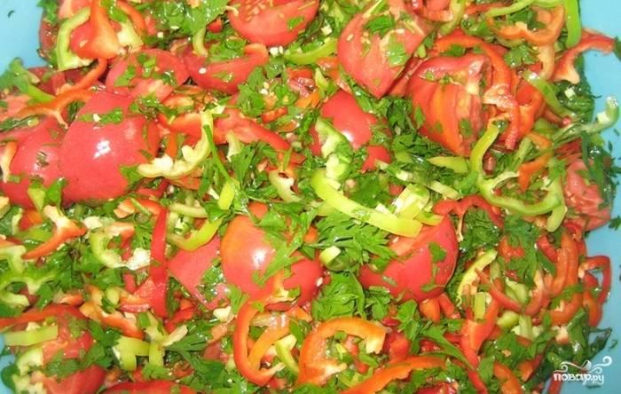 Томаты вымойте, мелкие разрежьте пополам, а крупные — на три-четыре части. Положите помидоры в большую миску. Болгарский и стручковый перец вымойте, удалите серединку и натрите на специальной терке или порежьте полукольцами. Положите к помидорам. Также добавьте в миску рубленную петрушку, посолите, поперчите ингредиенты и хорошенько перемешайте.