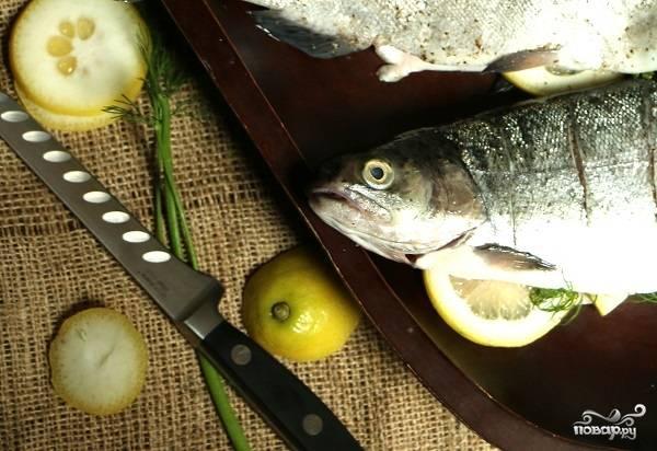 1. Первым делом вымойте рыбку (при необходимости очистите от чешуи и внутренностей) как следует и обсушите бумажным полотенцем. Зелень и лимон также промойте и слегка просушите.