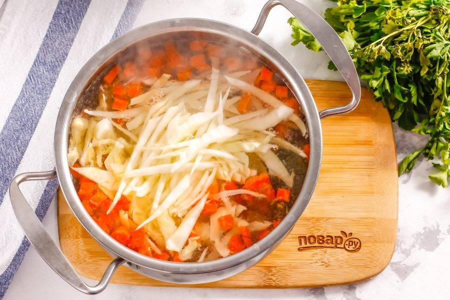 Нашинкуйте белокочанную капусту, добавьте нарезку в емкость к остальным ингредиентам.