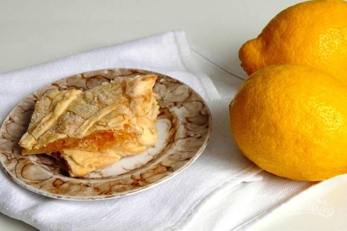 Пирог с лимоном из слоеного теста