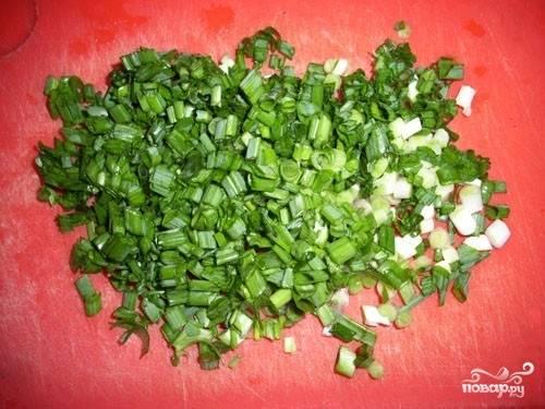 2.Зеленый лук промойте, дайте ему просохнуть или обсушите с помощью бумажных полотенец, а затем нарежьте колечками.