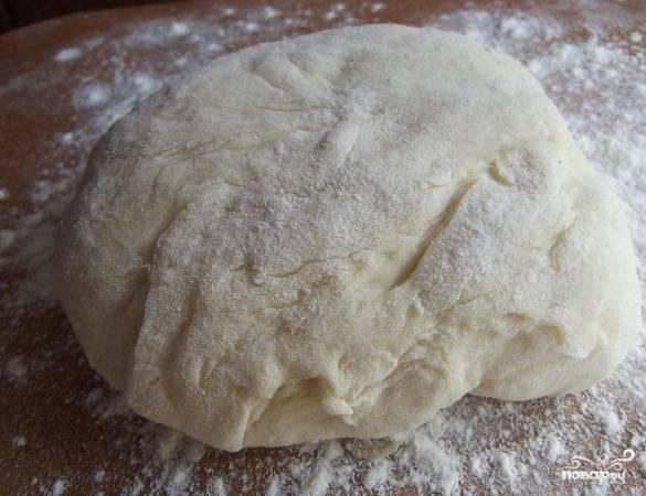 5. Когда тесто подошло во второй раз, присыпьте поверхность мукой и раскатайте его.