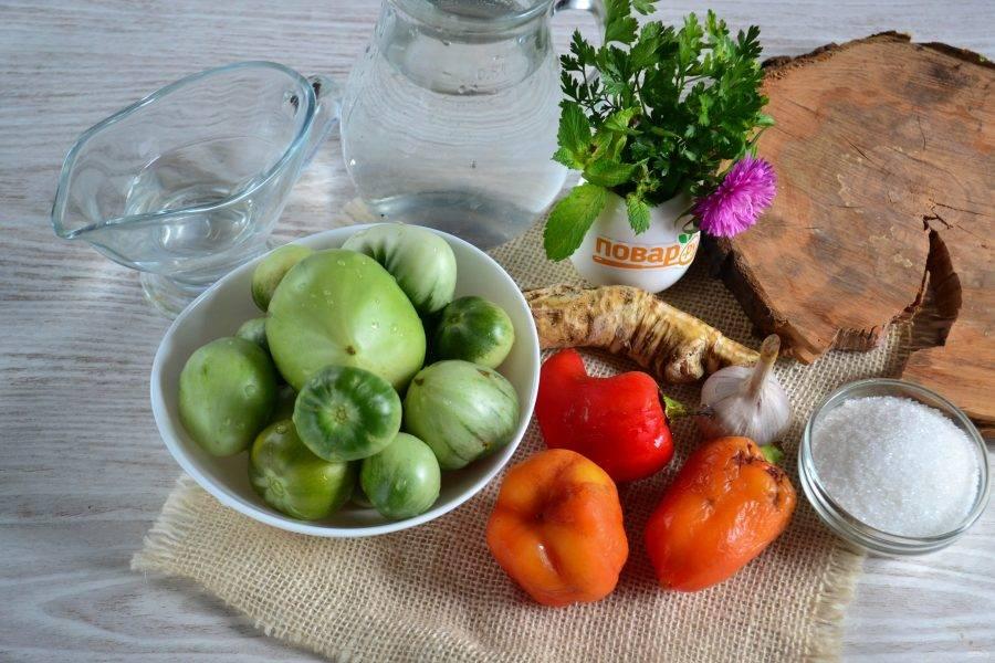 Подготовьте все необходимые ингредиенты. Овощи промойте. Сладкий перец очистите от плодоножек и семян.