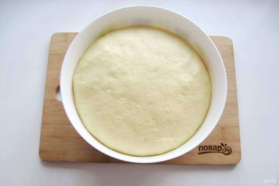 Поставьте миску с тестом в теплое место. Через час-полтора оно увеличится в объеме.