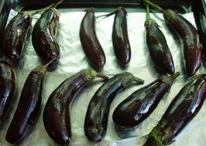 Баклажаны промойте, осушите и смажьте растительным маслом. Запекайте в духовке, около 30 минут.