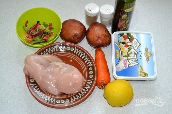 1. Начните процесс с того, что вымойте и обсушите куриную грудку и овощи. Включите на 180 градусов духовку.