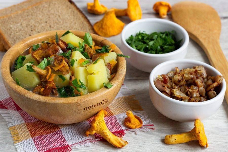 Наш суп готов! Разлейте по тарелкам, добавьте шкварки с луком и посыпьте зеленью петрушки.