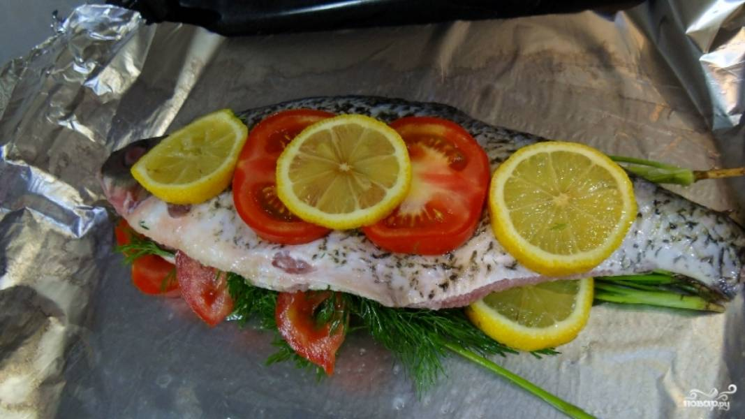 Леща промойте, выпотрошите, можете оставить голову и хвост, если хотите подать рыбку целой и красивой. Обязательно почистите рыбу от чешуи. Натрите специями, солью и перцем снаружи и изнутри. Сбрызните соком лимона, по желанию. Помидоры порежьте кружочками. Лимон тоже. Зелень промойте и обсушите. Нафаршируйте рыбу лимонами и помидорами, а также зеленью. Выложите на двойной лист фольги, смазанной маслом.