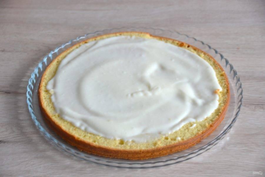 Выложите половину сметанного крема на нижний корж. Сверху выложите второй корж, смажьте кремом верх сметанника.