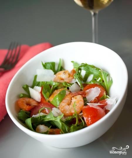 Салат с креветками и бальзамическим уксусом