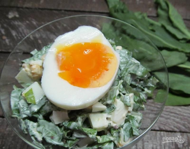 4. Перед подачей сверху на салат выкладываем половинку яйца всмятку. Приятного аппетита! Наш салат из щавеля с яйцом готов!