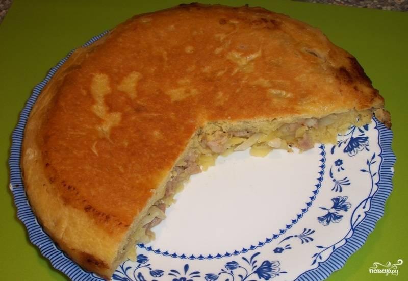 Пирог с мясом на сковороде