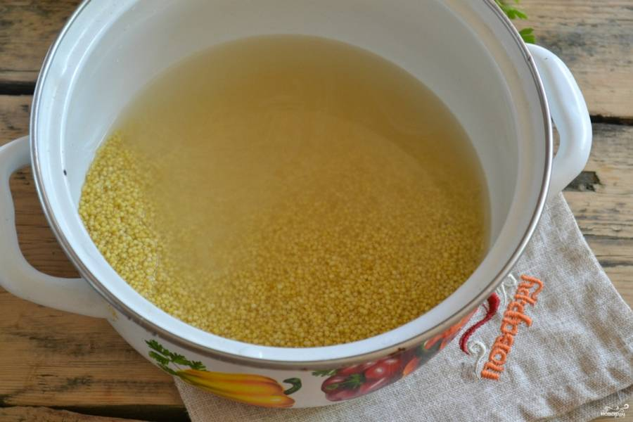 Пшенную крупу всыпьте в эмалированную кастрюлю, залейте 1 ст. воды и доведите до кипения.