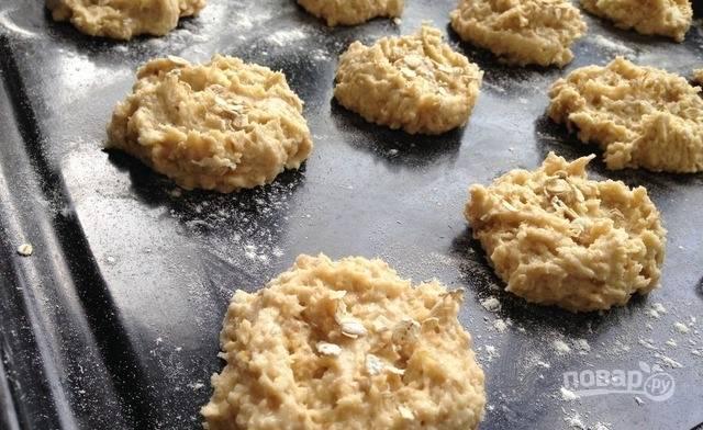 Противень обильно смажьте растительным маслом или застелите пергаментом для запекания. Ложкой выкладывайте на него тесто, формируя печенье. Разогрейте духовку до двухсот двадцати градусов и выпекайте в ней печенье десять-пятнадцать минут до румяной корочки. Готовое печенье остудите и подавайте к столу.