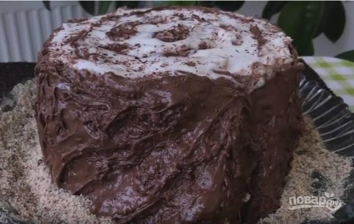 13. Украсить торт можно натертым шоколадом, а также крошкой из печенья. Помните, что торт должен быть похож на трухлявый пенек. Наш сметанный торт готов!