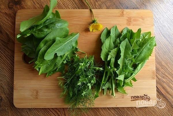 Листья одуванчика, щавель и остальную зелень промойте холодной водой.