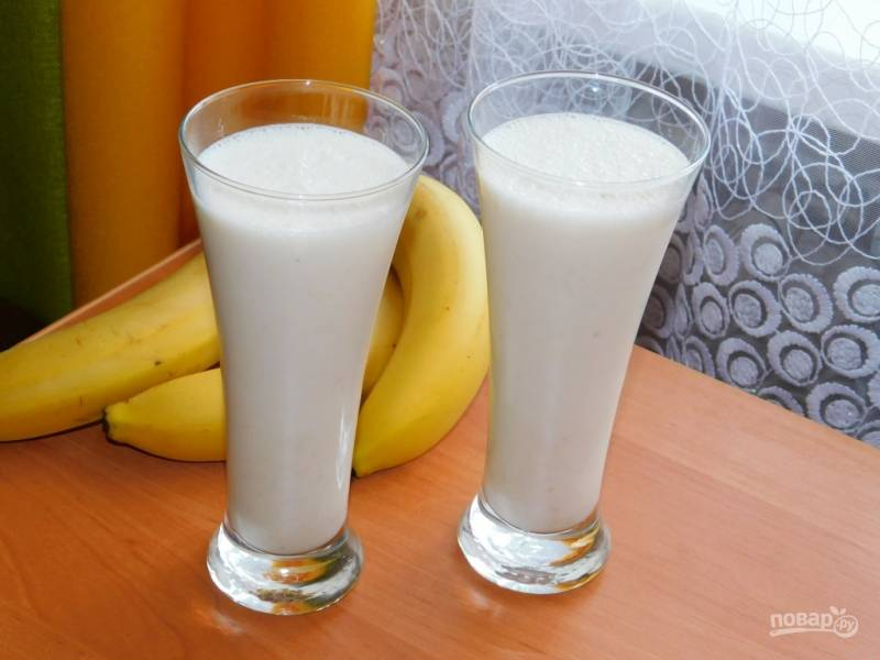 Молочный десерт с бананами и отрубями
