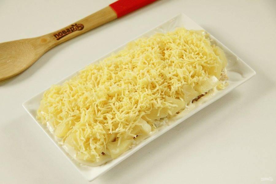 10. Тертый сыр - майонез. И повторяем слои еще раз.